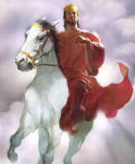 The Return of Christ, riding on the clouds