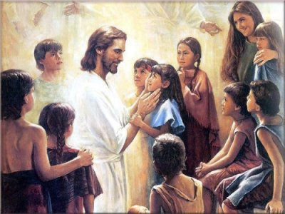Jesus playing with kids