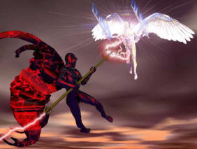 Angel and demon fight How Satan Stops Our Prayers   Combat in the Heavenly Realms